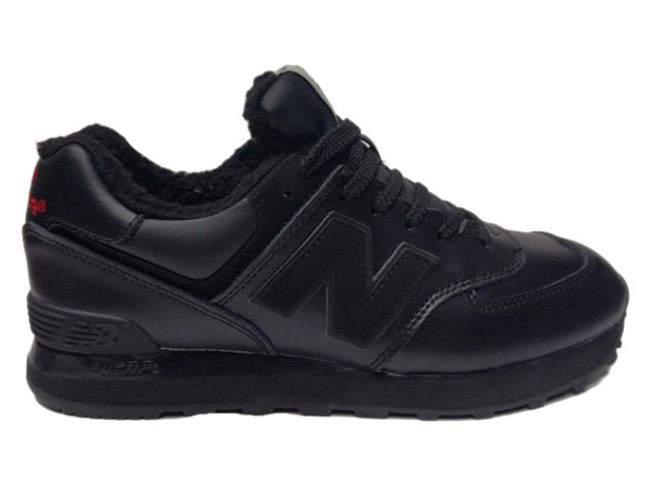 Зимние New Balance 574 Leather черные