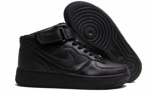 Зимние Nike Air Force 1 Mid с мехом Black черные 35-45