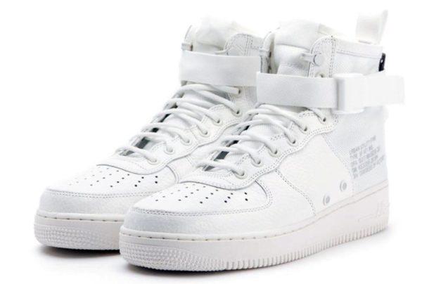 Кроссовки Nike Air Force 1 SF Mid white белые (35-45)