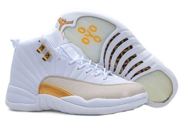 Nike Air Jordan 12 Retro белые с желтым (40-45)
