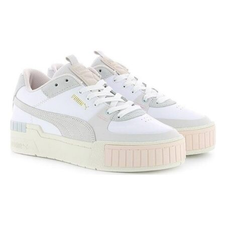 Puma Cali Sport Mix WN'S бело-серые кожа-замша женские (35-39)